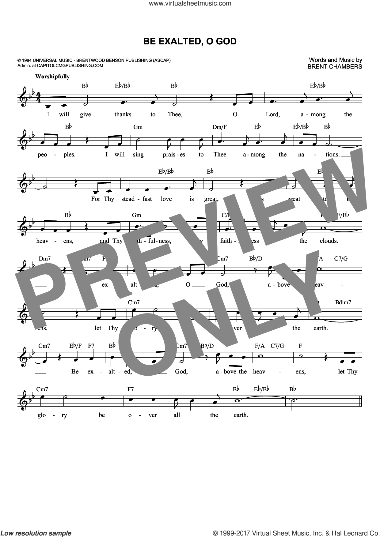 Be Exalted, O God sheet music for voice and other instruments (fake book) by Brent Chambers, intermediate voice. Score Image Preview.