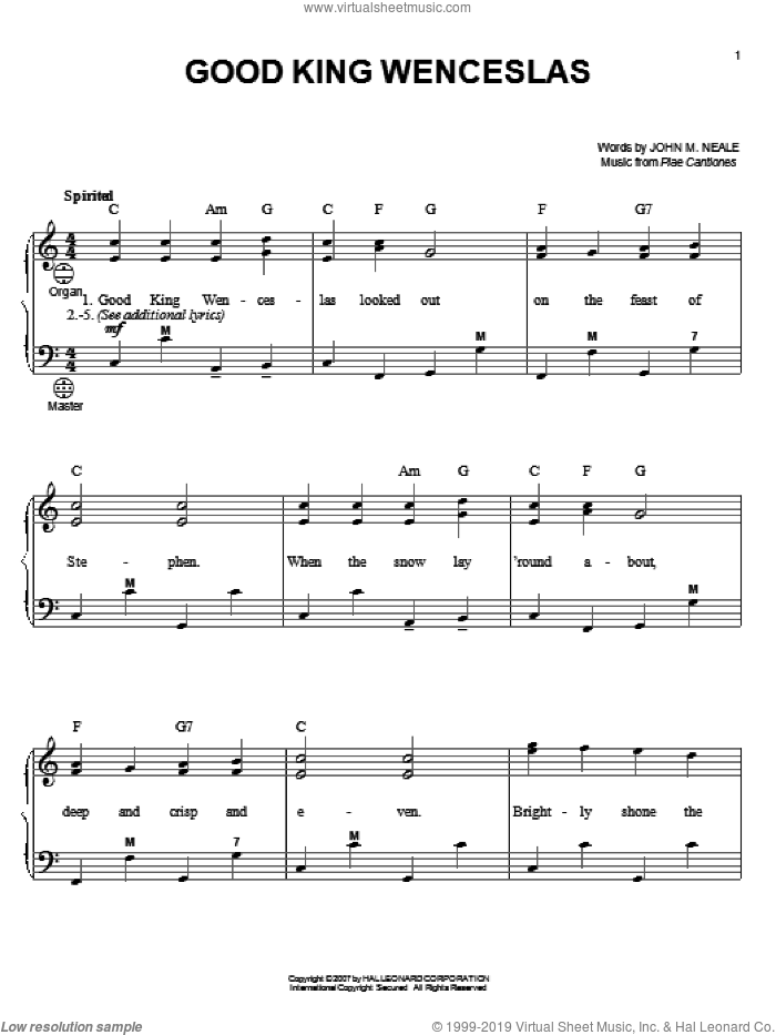 Good King Wenceslas sheet music for accordion by Piae Cantiones, Gary Meisner and John Mason Neale, intermediate skill level