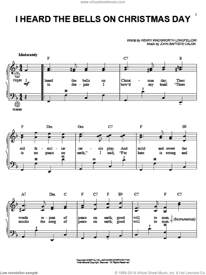 I Heard The Bells On Christmas Day sheet music for accordion by John Baptiste Calkin