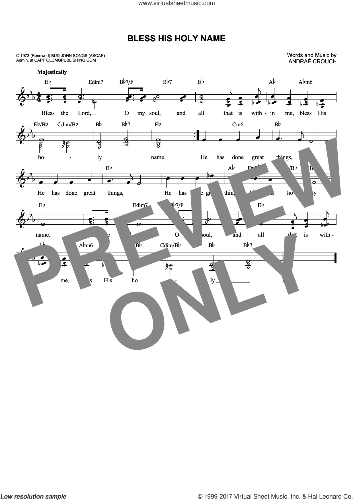 Bless His Holy Name sheet music for voice and other instruments (fake book) by Andrae Crouch. Score Image Preview.