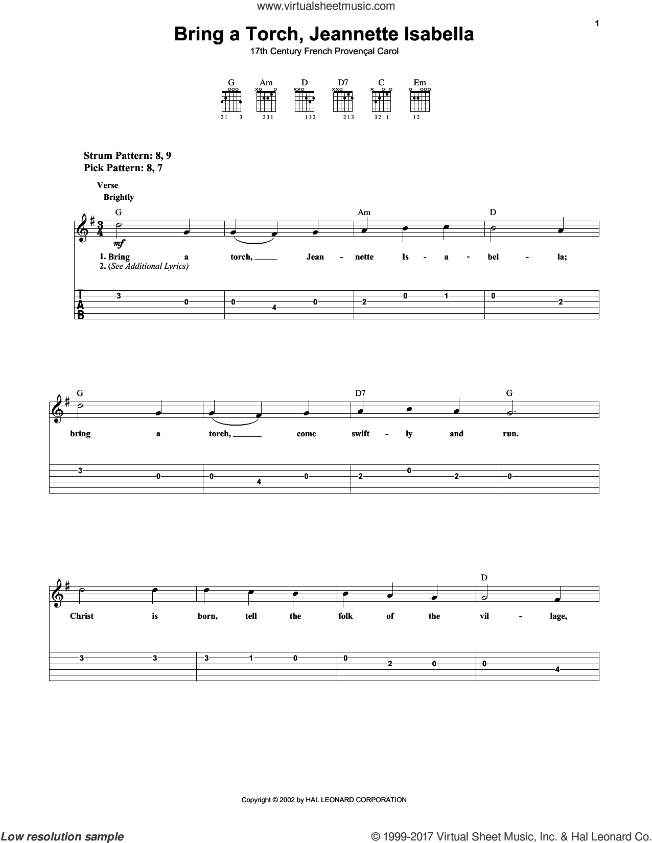 Bring A Torch, Jeannette, Isabella sheet music for guitar solo (easy tablature) by Anonymous and Miscellaneous, easy guitar (easy tablature)