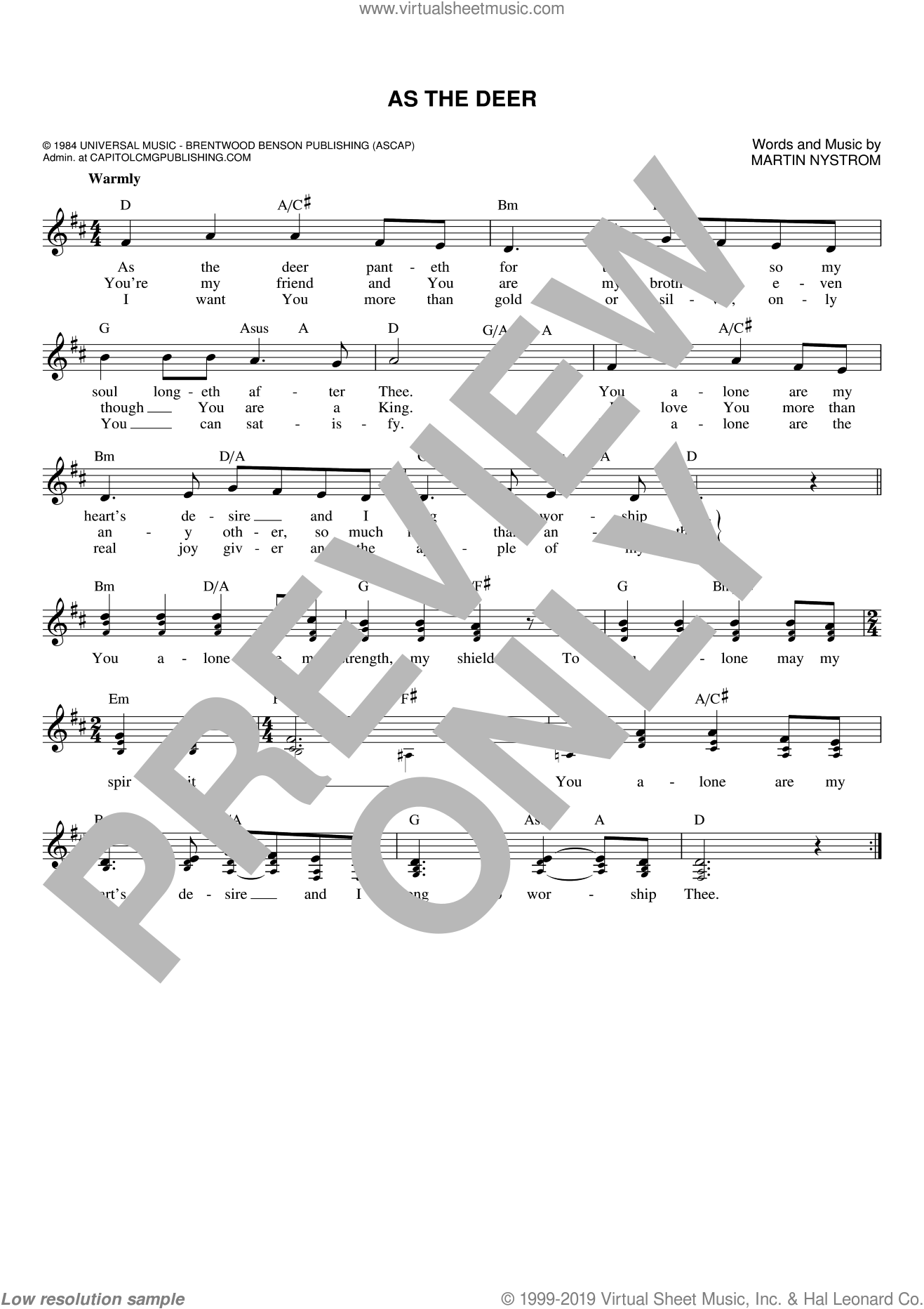 As The Deer sheet music for voice and other instruments (fake book) by Martin Nystrom. Score Image Preview.