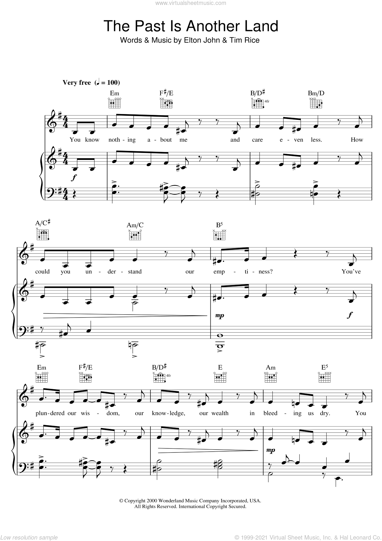 The Past Is Another Land (from Aida) sheet music for voice, piano or guitar by Elton John, intermediate. Score Image Preview.