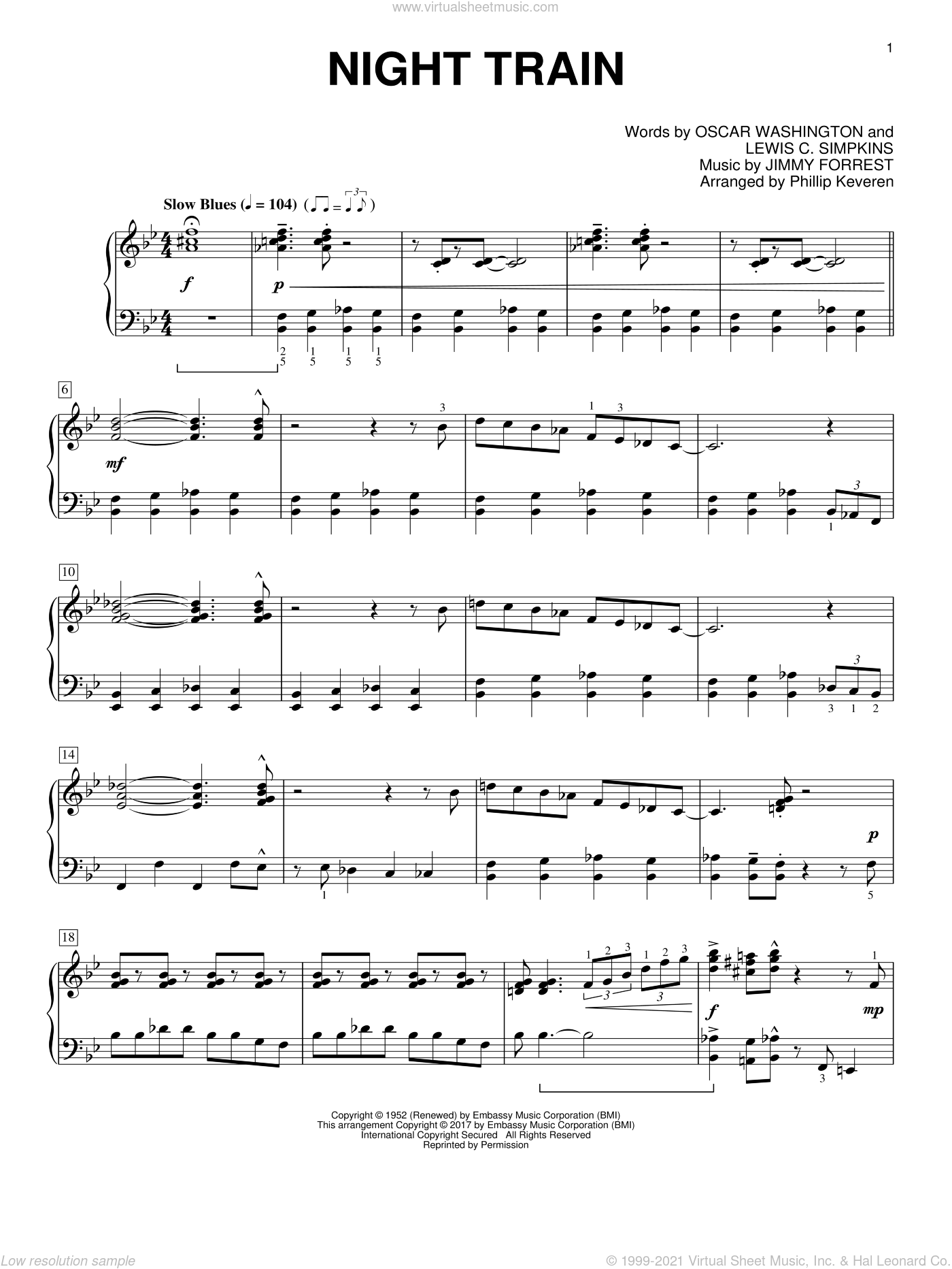 Night Train sheet music for piano solo by Jimmy Forrest, Phillip Keveren, Buddy Morrlow, Lewis C. Simpkins and Oscar Washington, intermediate skill level