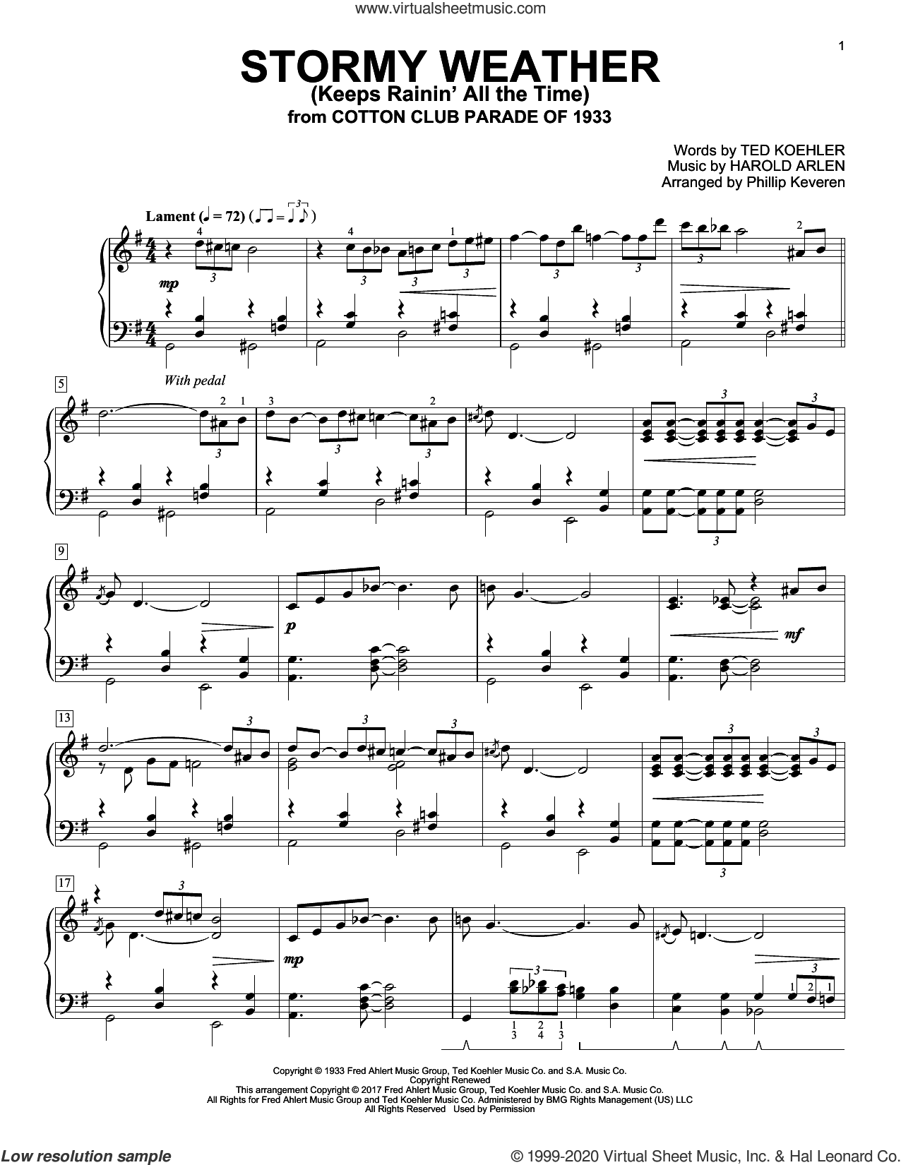 Stormy Weather (Keeps Rainin' All The Time) sheet music for piano solo by Harold Arlen, Phillip Keveren and Ted Koehler, intermediate skill level