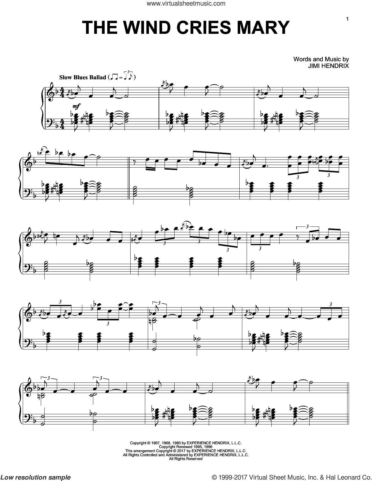 The Wind Cries Mary sheet music for piano solo by Jimi Hendrix, intermediate skill level