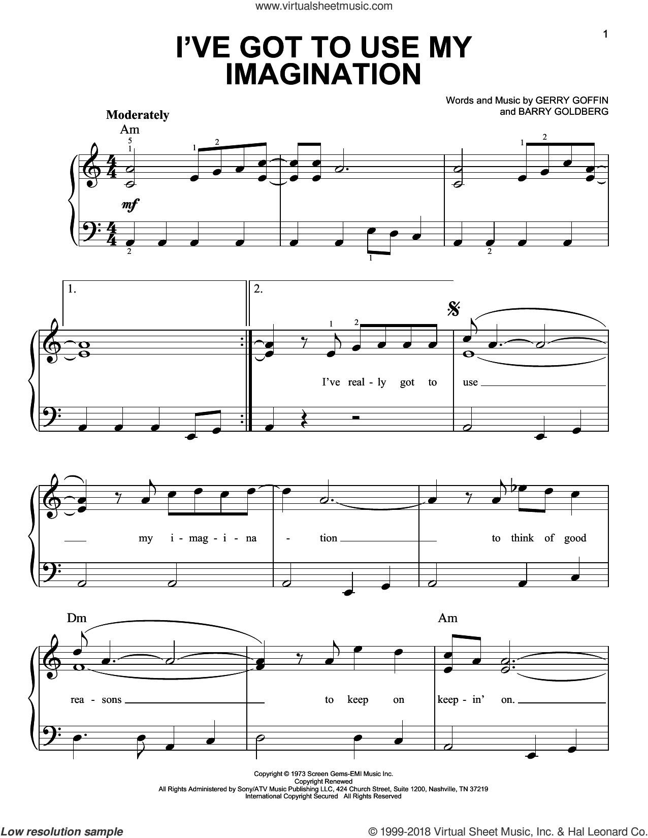 I've Got To Use My Imagination sheet music for piano solo by Gladys Knight & The Pips, Barry Goldberg and Gerry Goffin, beginner skill level