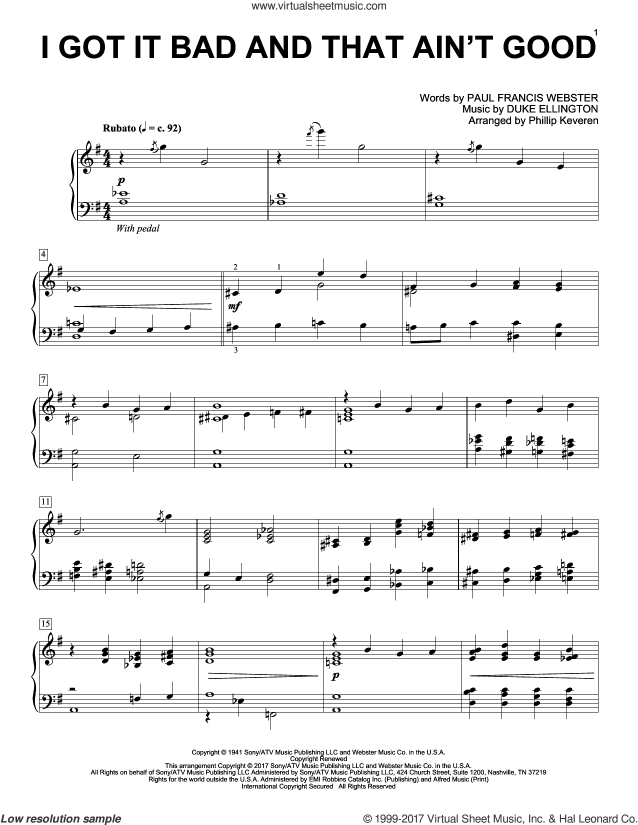 I Got It Bad And That Ain't Good sheet music for piano solo by Duke Ellington, Phillip Keveren and Paul Francis Webster, intermediate