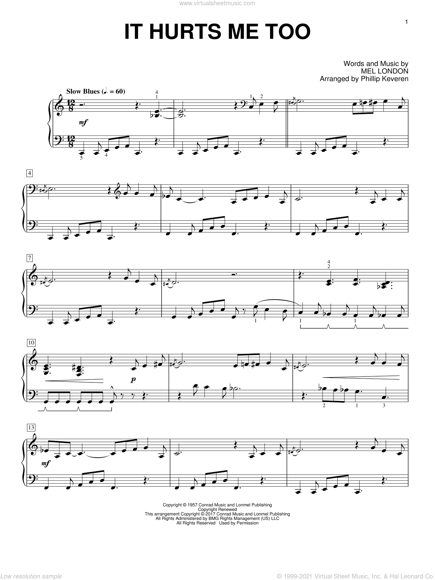 It Hurts Me Too sheet music for piano solo by Mel London, Phillip Keveren, Elmore James, Elvis Presley and Eric Clapton, intermediate. Score Image Preview.