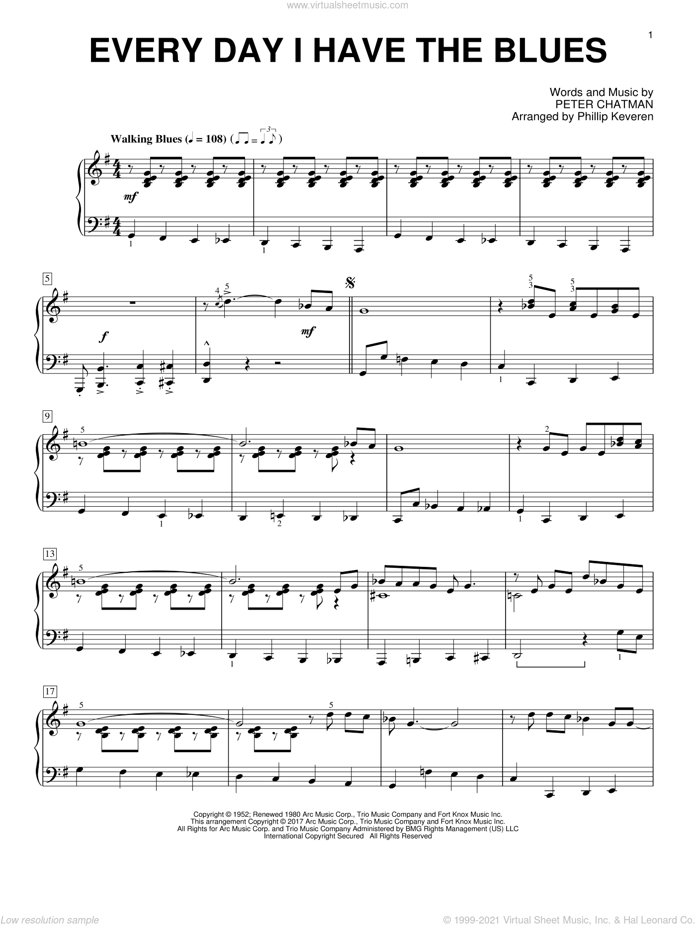 Every Day I Have The Blues sheet music for piano solo by Peter Chatman, Phillip Keveren and B.B. King. Score Image Preview.