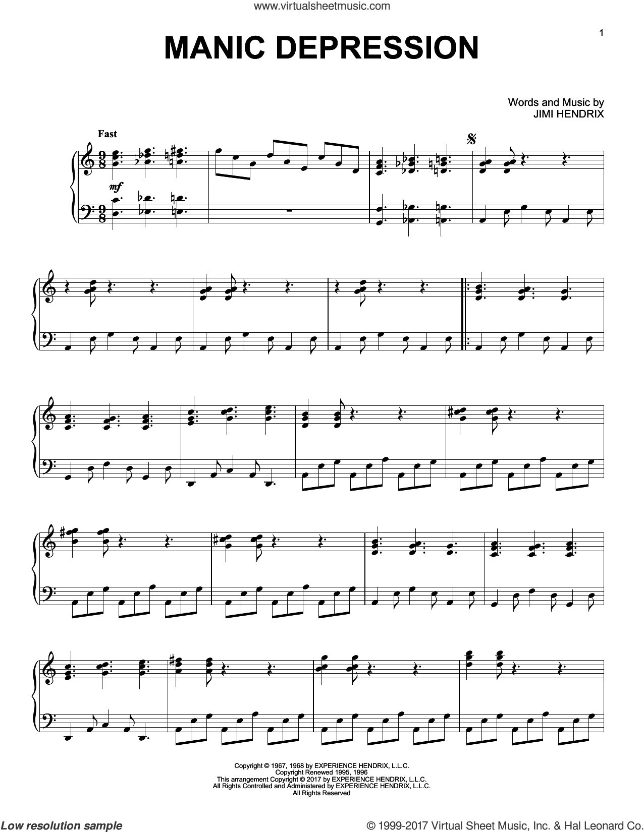 Manic Depression sheet music for piano solo by Jimi Hendrix, intermediate skill level