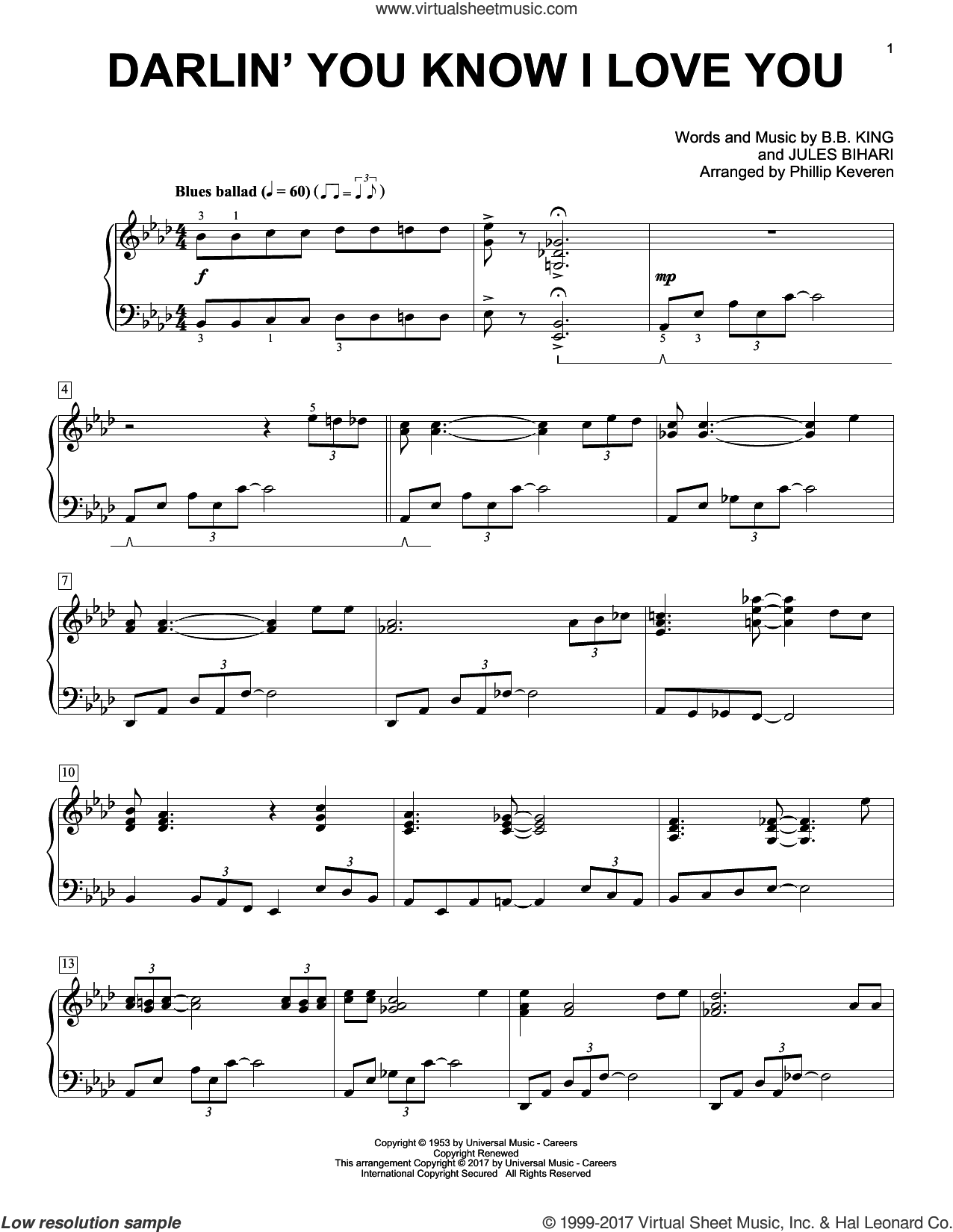 Darlin' You Know I Love You sheet music for piano solo by B.B. King, Phillip Keveren and Jules Bihari, intermediate skill level