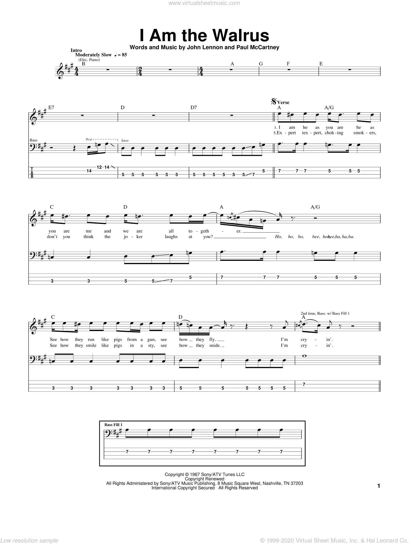 I Am The Walrus sheet music for bass (tablature) (bass guitar) by The Beatles, John Lennon and Paul McCartney, intermediate skill level