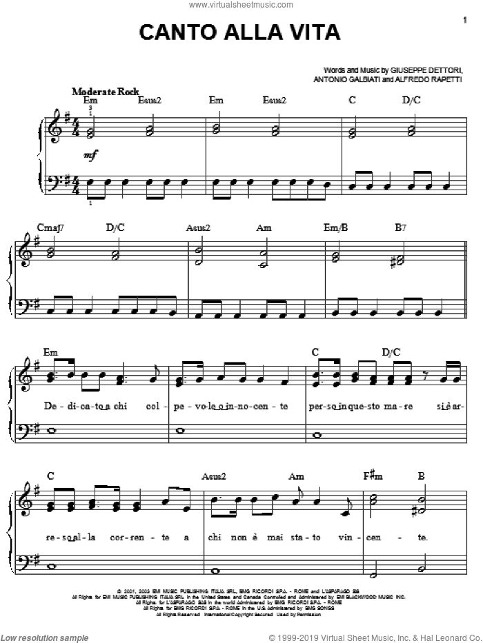 Canto Alla Vita sheet music for piano solo by Josh Groban, Alfredo Rapetti, Antonio Galbiati and Giuseppe Dettori, easy skill level