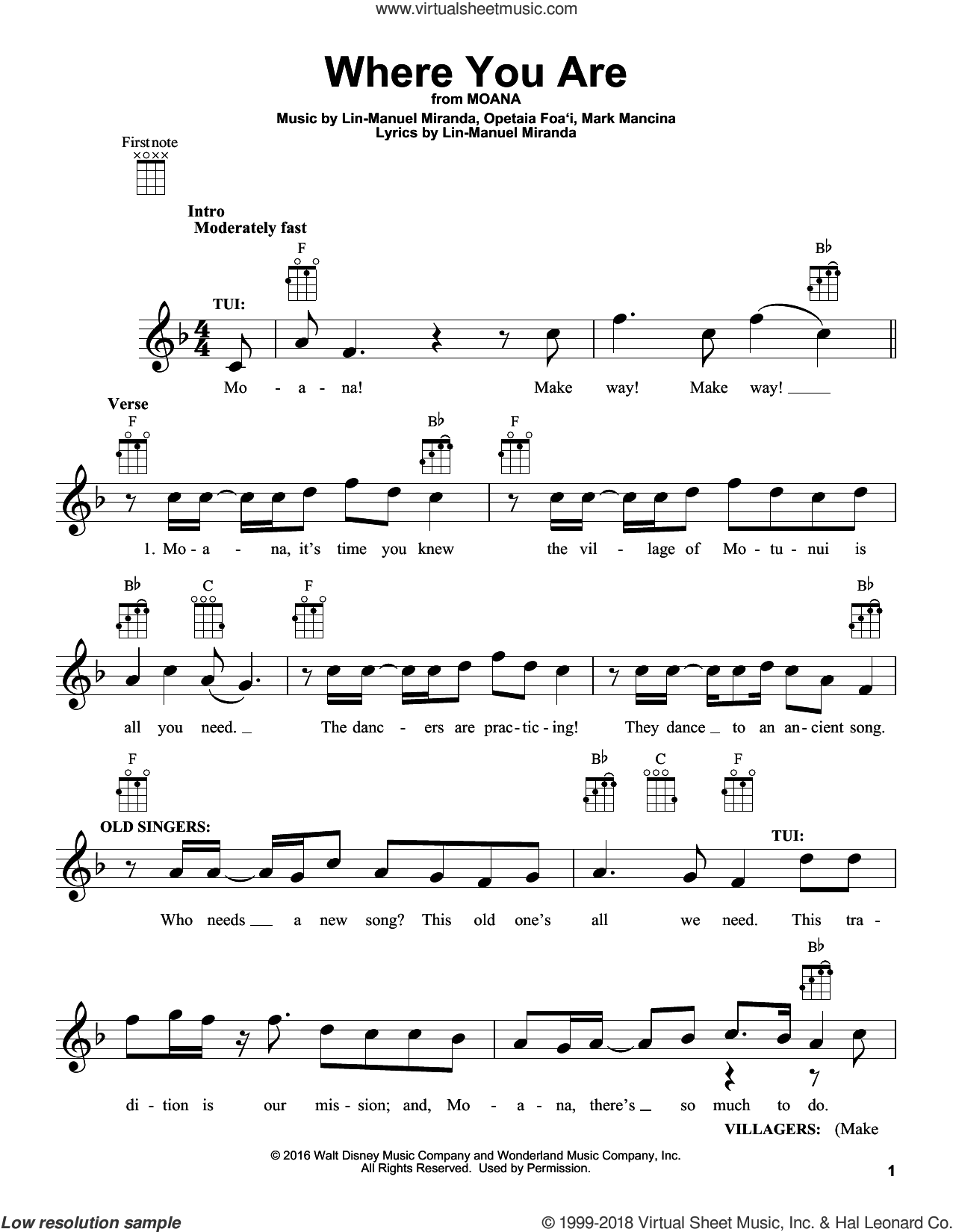Where You Are sheet music for ukulele by Lin-Manuel Miranda and Mark Mancina, intermediate skill level