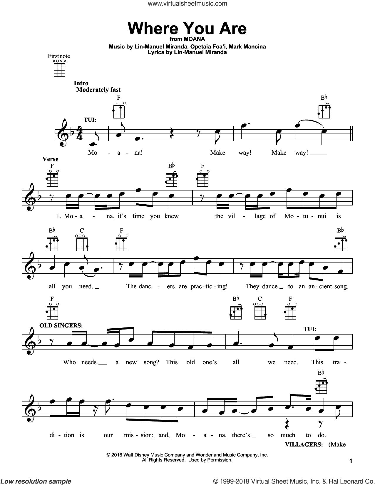 Where You Are (from Moana) sheet music for ukulele by Lin-Manuel Miranda and Mark Mancina, intermediate skill level