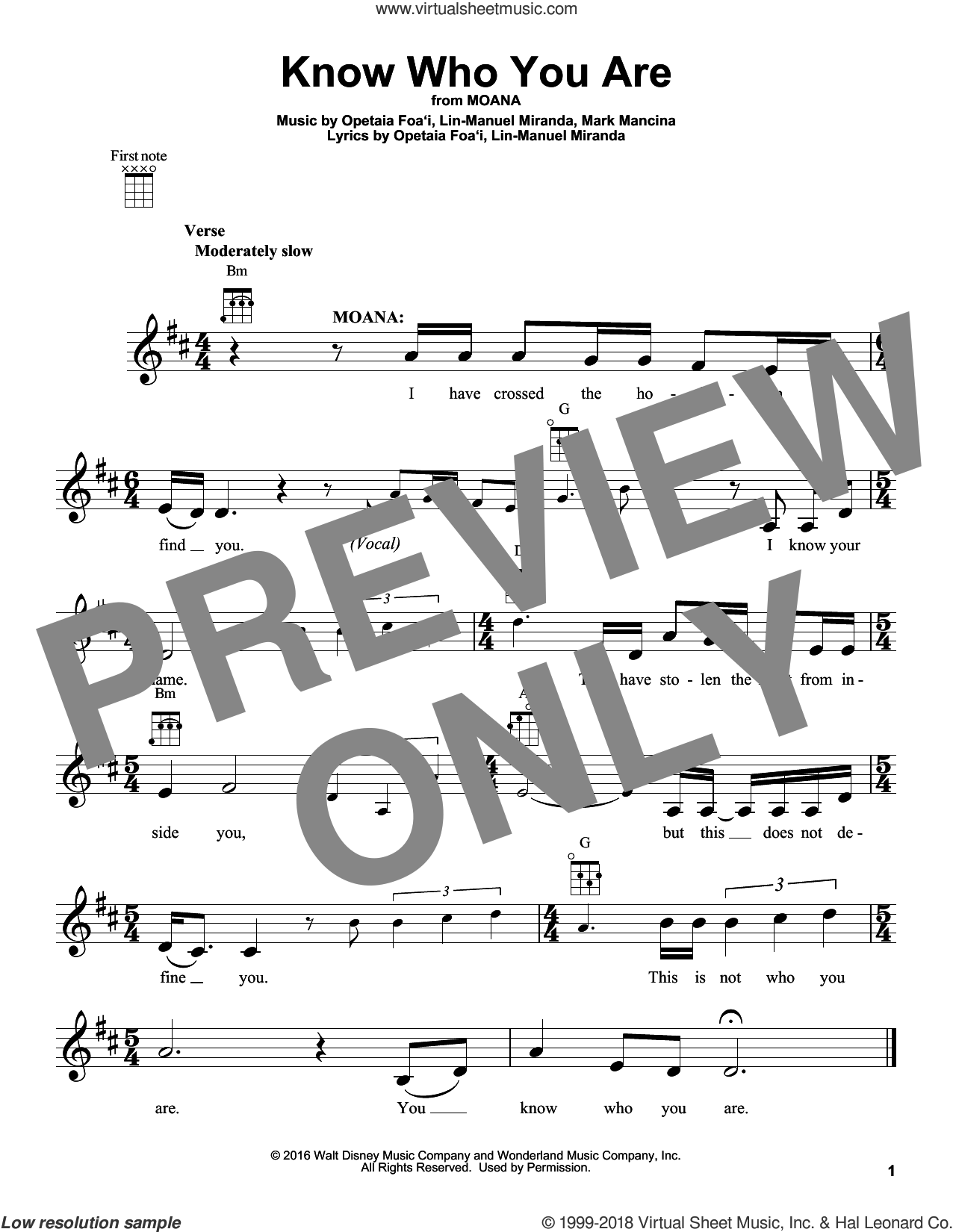 Know Who You Are sheet music for ukulele by Lin-Manuel Miranda and Mark Mancina, intermediate skill level