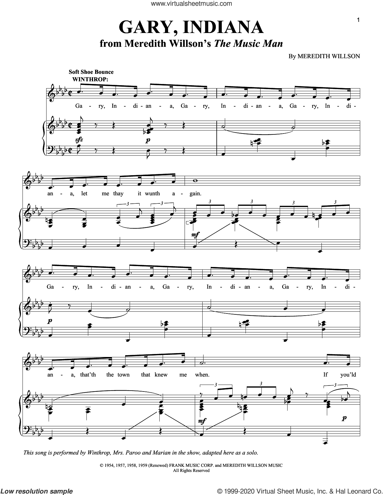 Gary, Indiana sheet music for voice and piano by Meredith Willson, intermediate skill level