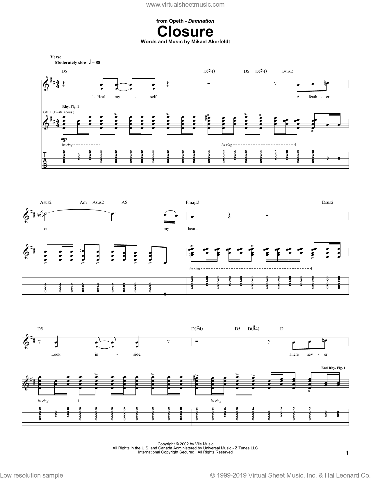 Closure sheet music for guitar (tablature) by Opeth and Mikael Akerfeldt, intermediate skill level