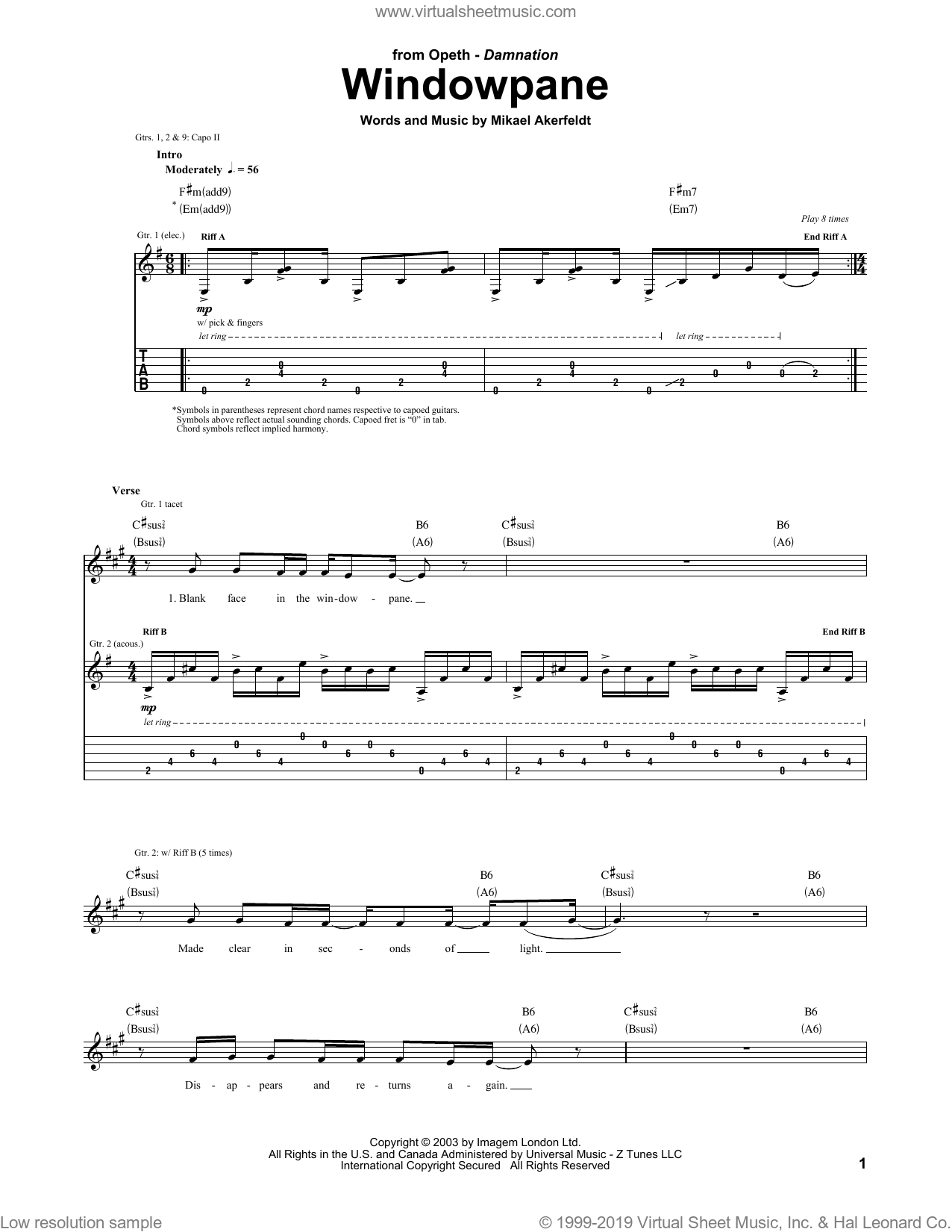 Windowpane sheet music for guitar (tablature) by Opeth and Mikael Akerfeldt, intermediate skill level