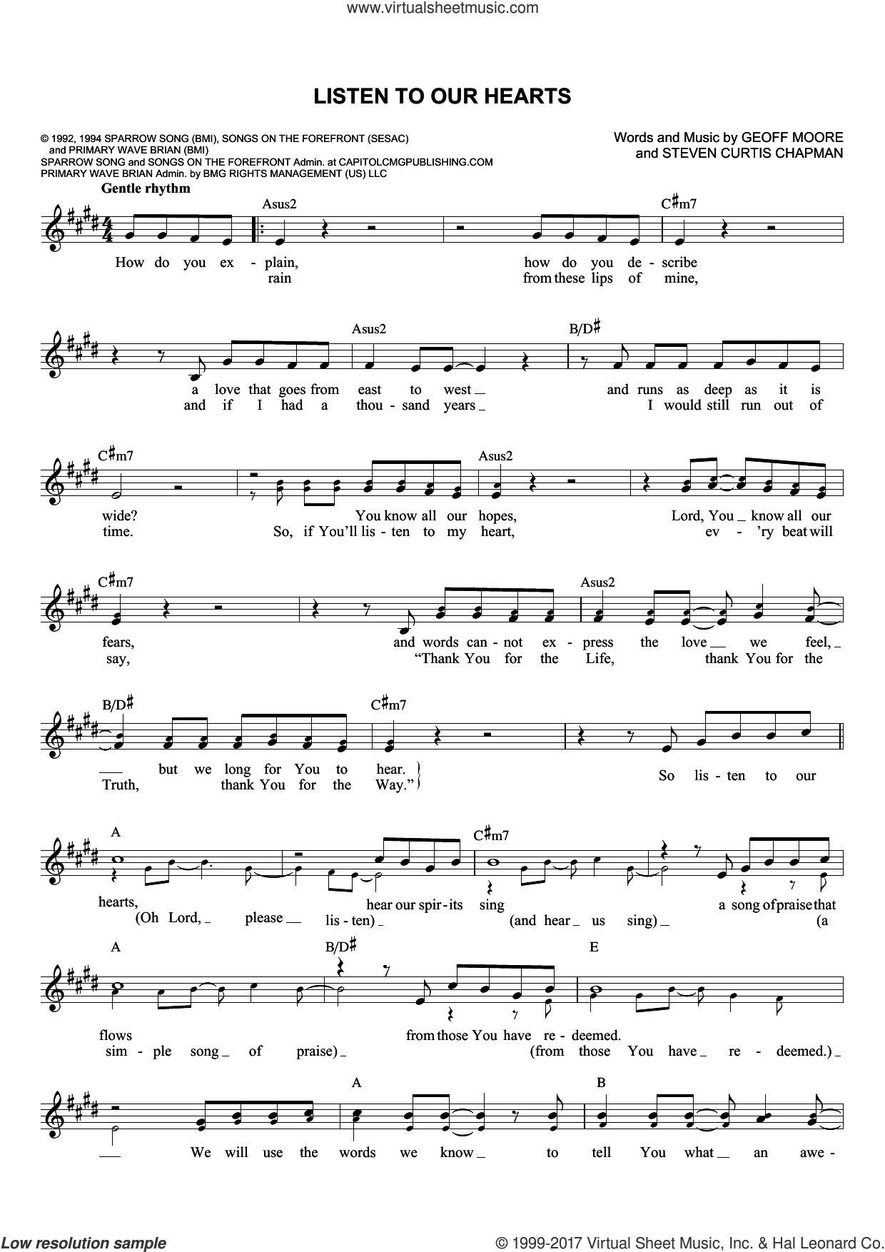Listen To Our Hearts sheet music for voice and other instruments (fake book) by Geoff Moore & The Distance and Steven Curtis Chapman, wedding score, intermediate. Score Image Preview.
