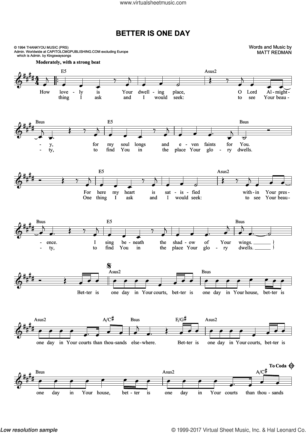 Better Is One Day sheet music for voice and other instruments (fake book) by Matt Redman and Passion, intermediate