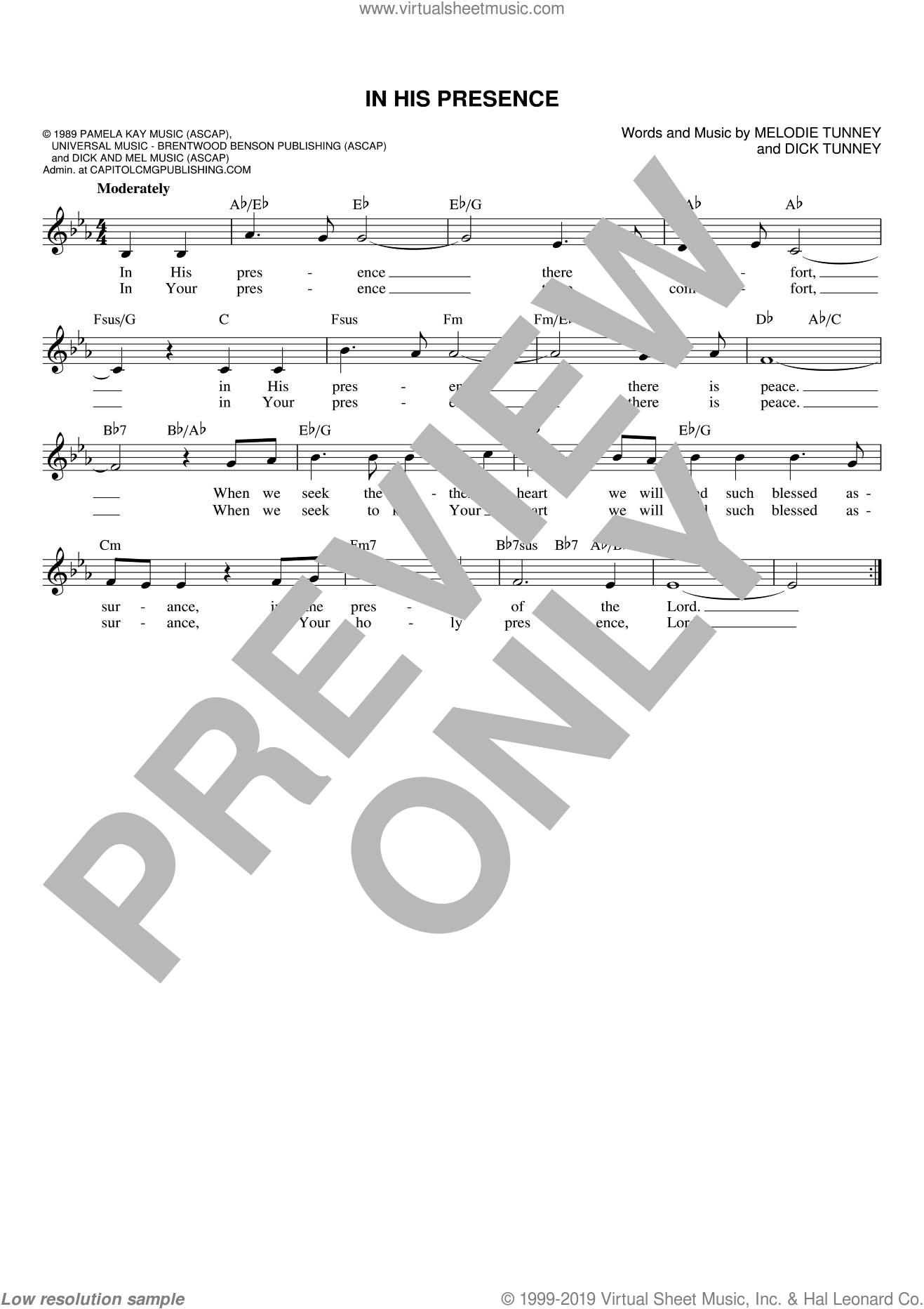 In His Presence sheet music for voice and other instruments (fake book) by Melodie Tunney and Dick Tunney, intermediate voice. Score Image Preview.