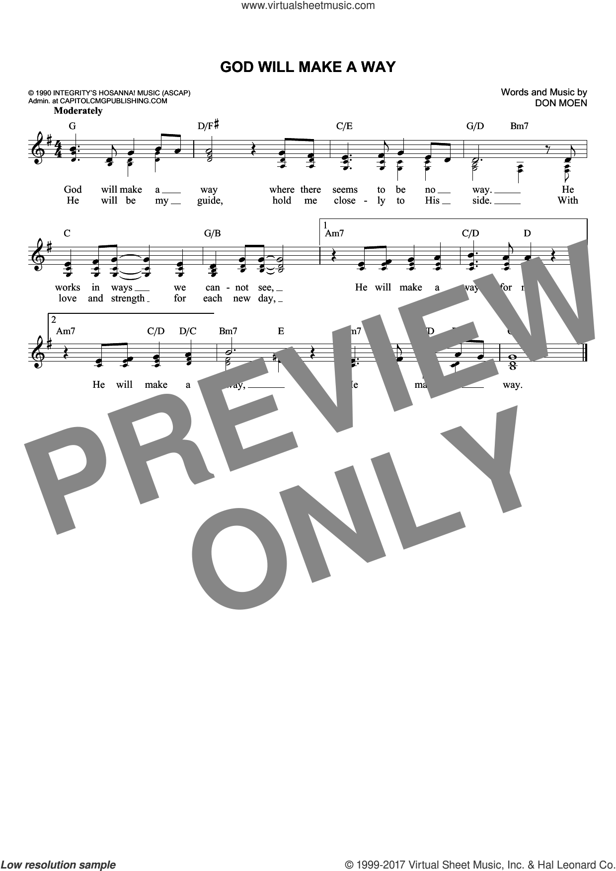 God Will Make A Way sheet music for voice and other instruments (fake book) by Don Moen, intermediate. Score Image Preview.