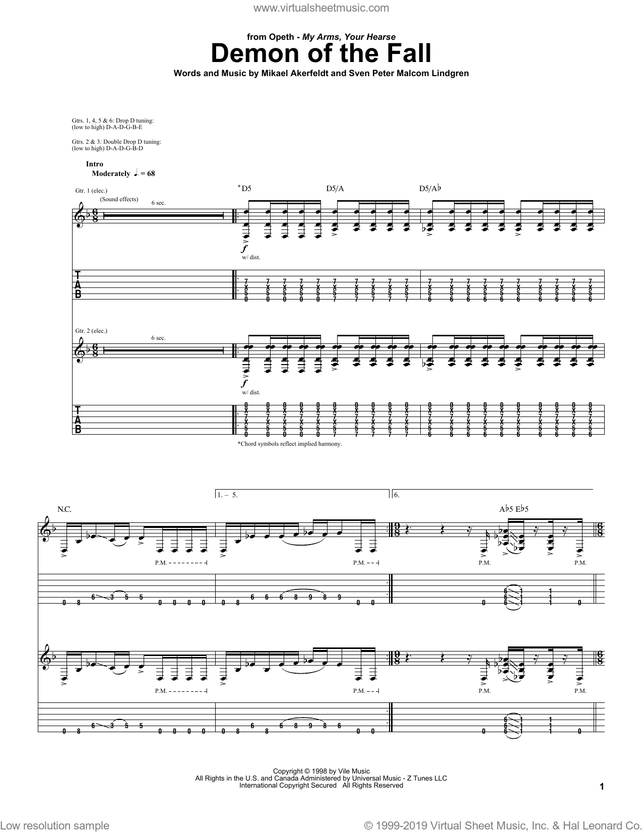 Demon Of The Fall sheet music for guitar (tablature) by Sven Peter Malcom Lindgren, Opeth and Mikael Akerfeldt. Score Image Preview.