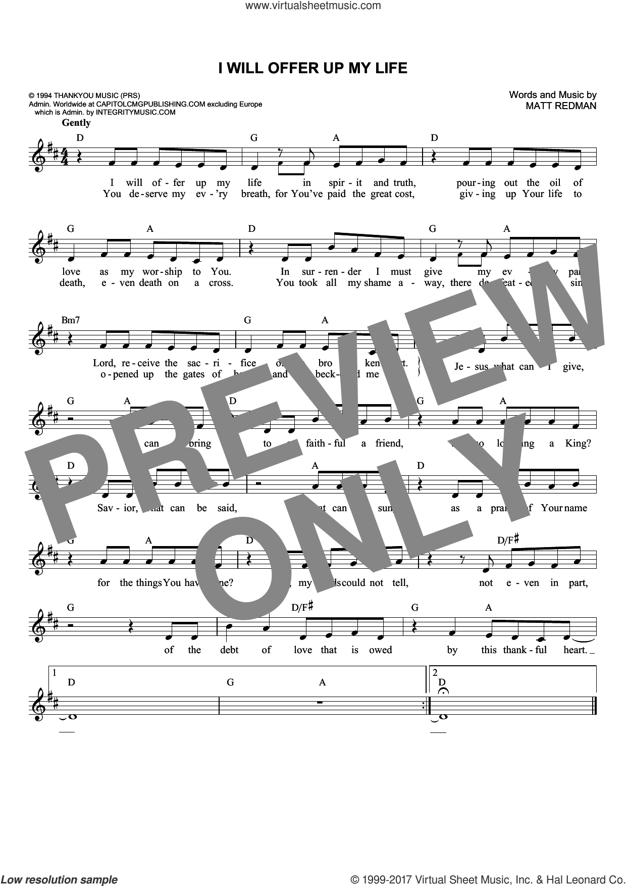 I Will Offer Up My Life sheet music for voice and other instruments (fake book) by Matt Redman, intermediate skill level