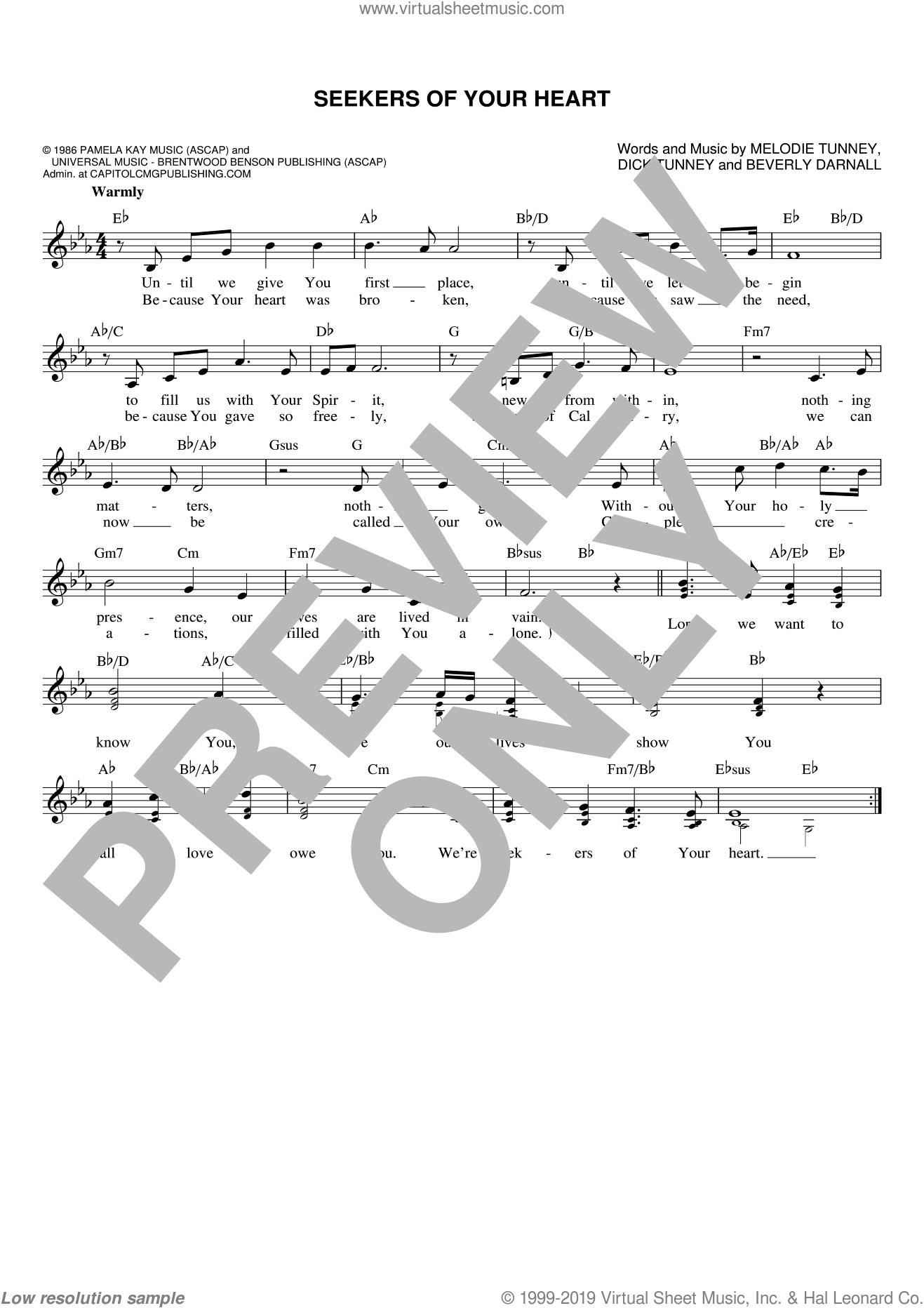 Seekers Of Your Heart sheet music for voice and other instruments (fake book) by Dick Tunney, Beverly Darnall and Melodie Tunney, wedding score, intermediate skill level