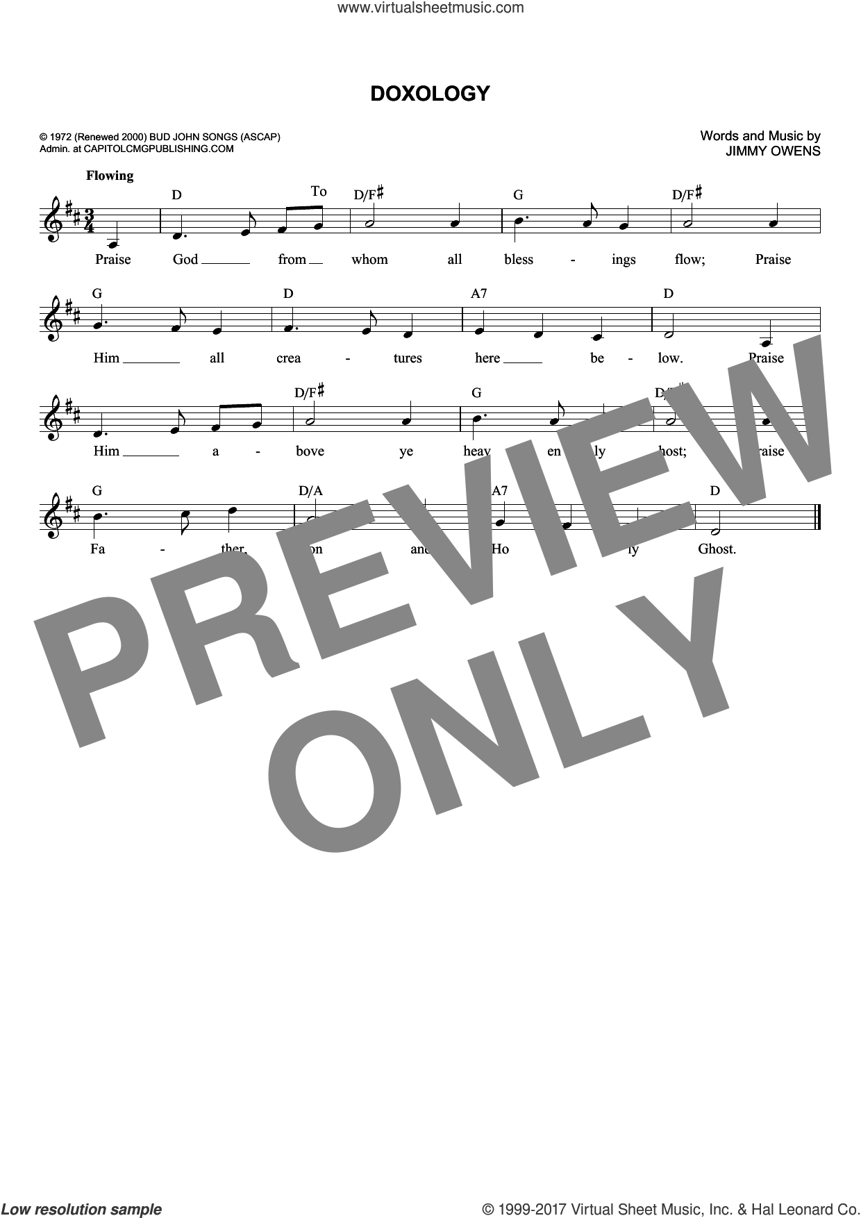 Doxology sheet music for voice and other instruments (fake book) by Ginny Owens, intermediate skill level