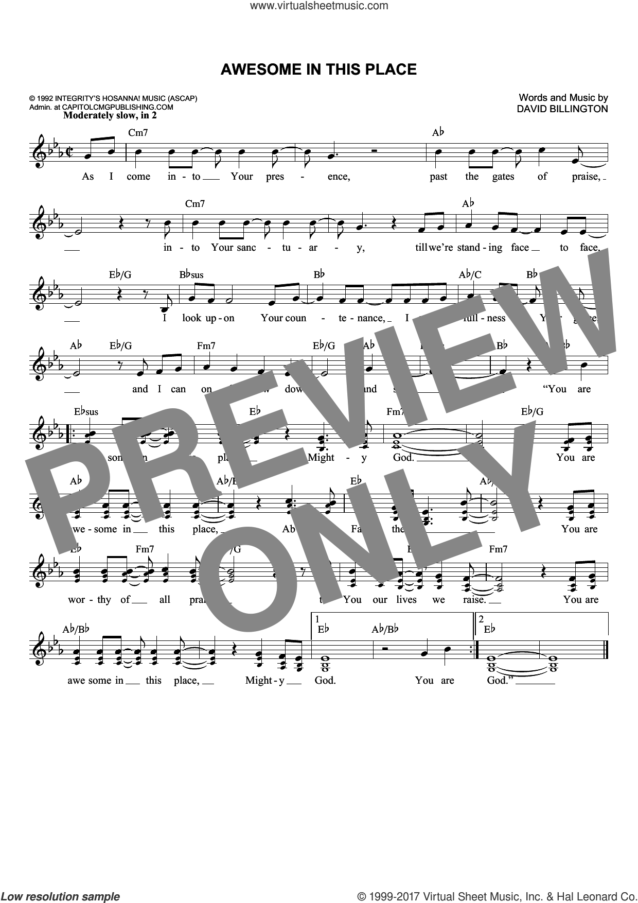 Awesome In This Place sheet music for voice and other instruments (fake book) by David Billington, intermediate. Score Image Preview.