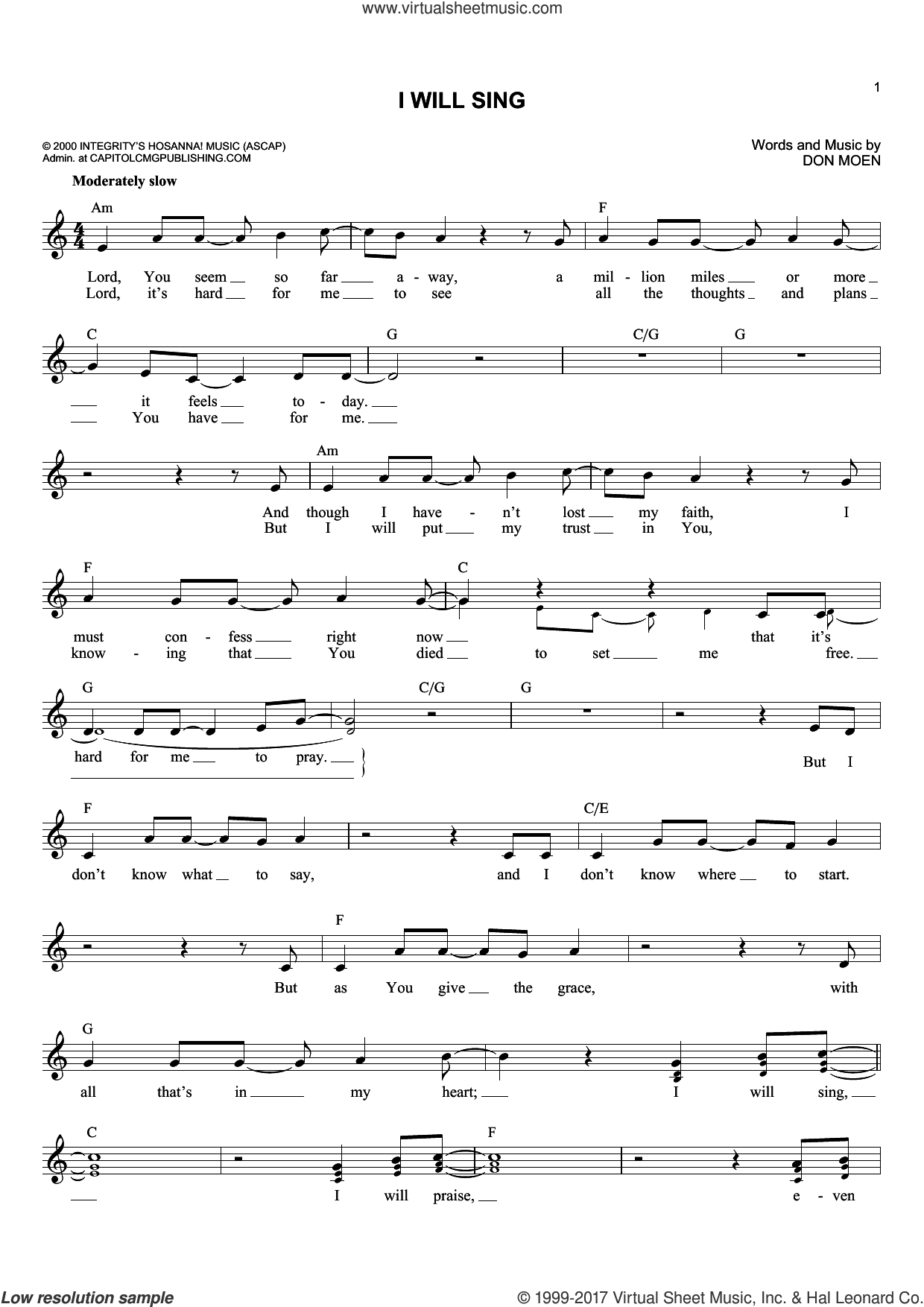 I Will Sing sheet music for voice and other instruments (fake book) by Don Moen, intermediate skill level