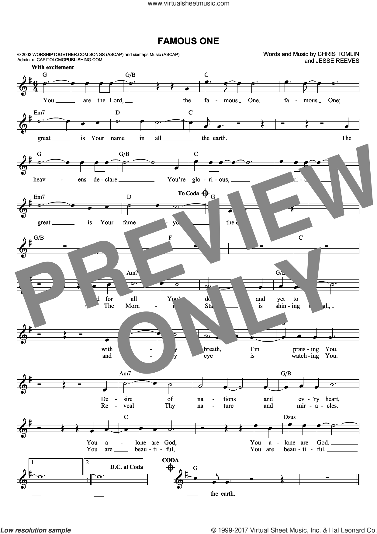 Famous One sheet music for voice and other instruments (fake book) by Chris Tomlin and Jesse Reeves, intermediate. Score Image Preview.