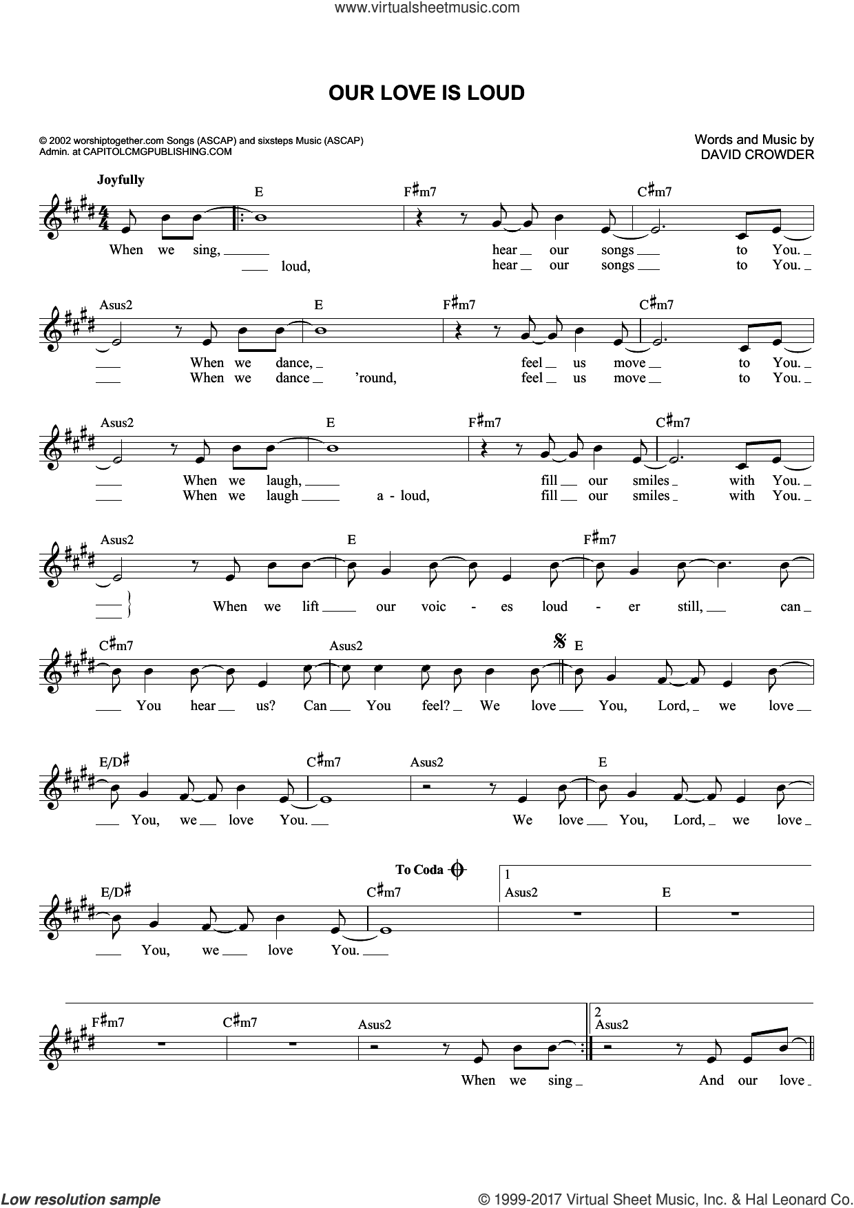 Our Love Is Loud sheet music for voice and other instruments (fake book) by David Crowder. Score Image Preview.