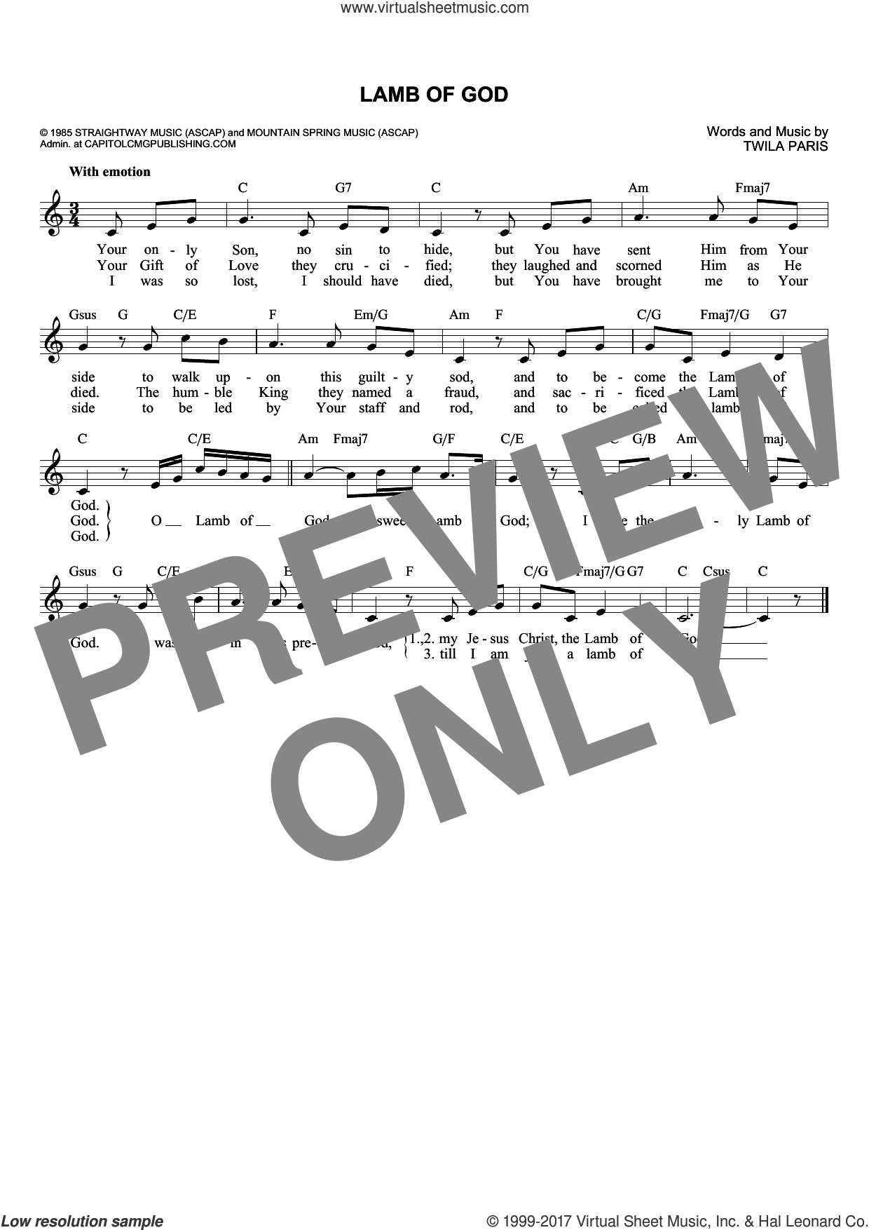Lamb Of God sheet music for voice and other instruments (fake book) by Twila Paris, intermediate voice. Score Image Preview.
