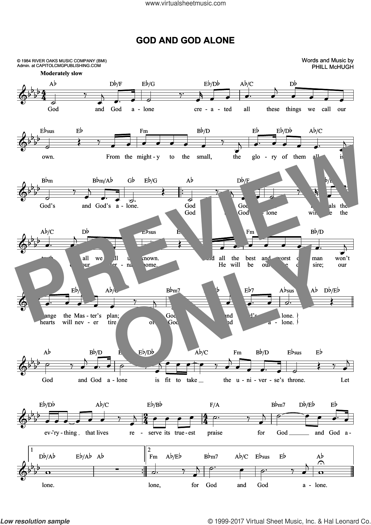God And God Alone sheet music for voice and other instruments (fake book) by Phill McHugh. Score Image Preview.