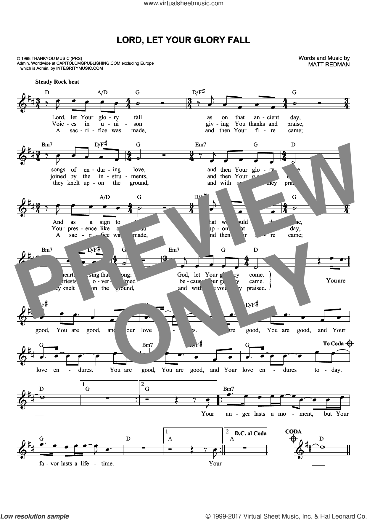 Lord, Let Your Glory Fall sheet music for voice and other instruments (fake book) by Matt Redman and Phillips, Craig & Dean, intermediate skill level