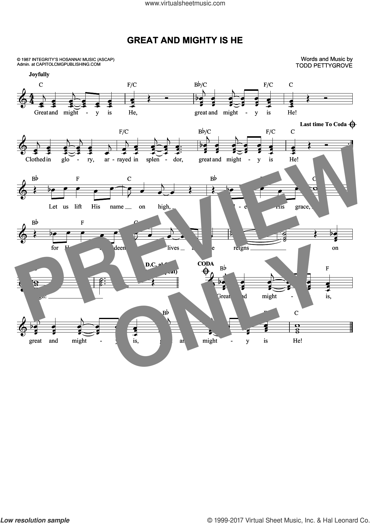 Great And Mighty Is He sheet music for voice and other instruments (fake book) by Todd Pettygrove, intermediate. Score Image Preview.