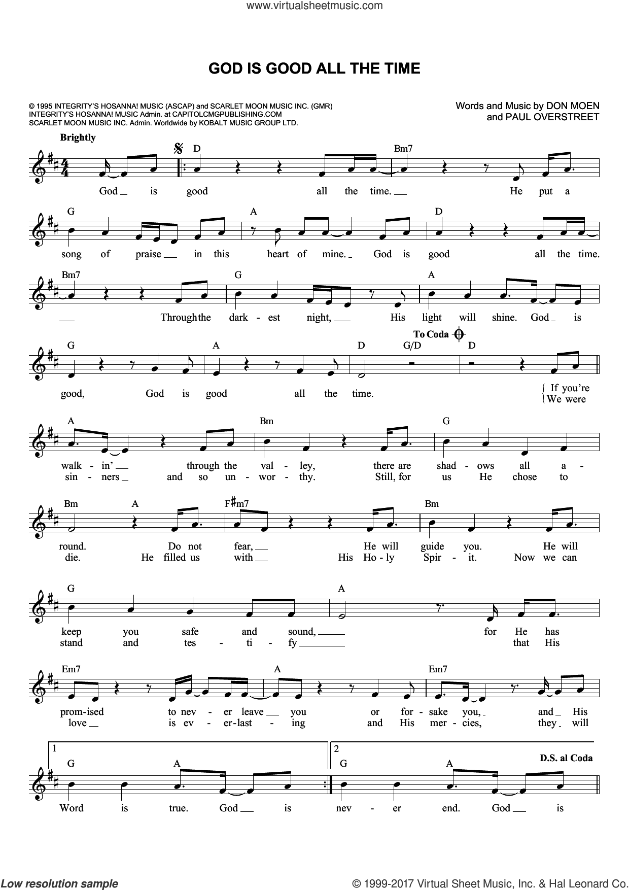 God Is Good All The Time sheet music for voice and other instruments (fake book) by Don Moen and Paul Overstreet, intermediate voice. Score Image Preview.