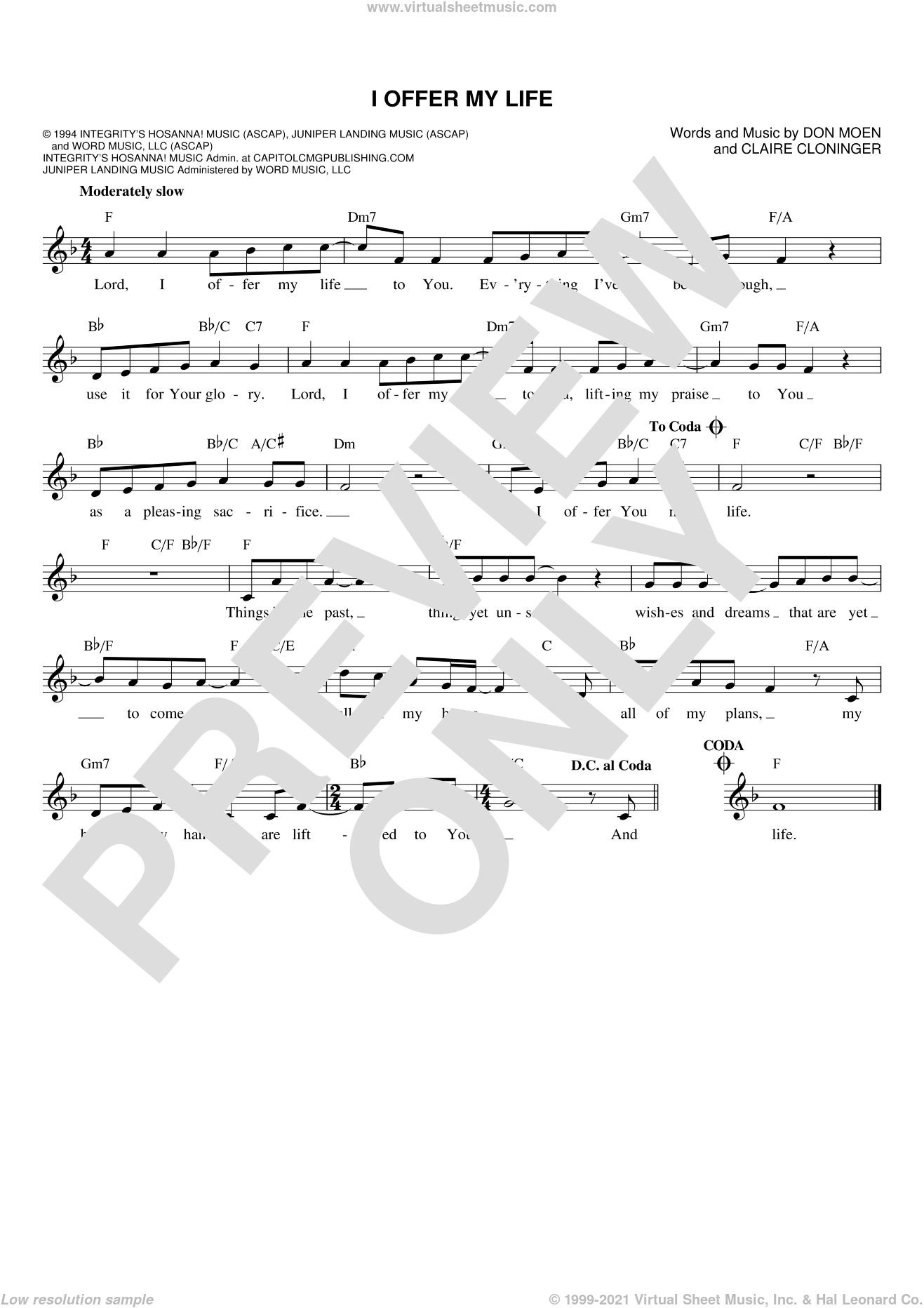 I Offer My Life sheet music for voice and other instruments (fake book) by Don Moen and Claire Cloninger, intermediate skill level