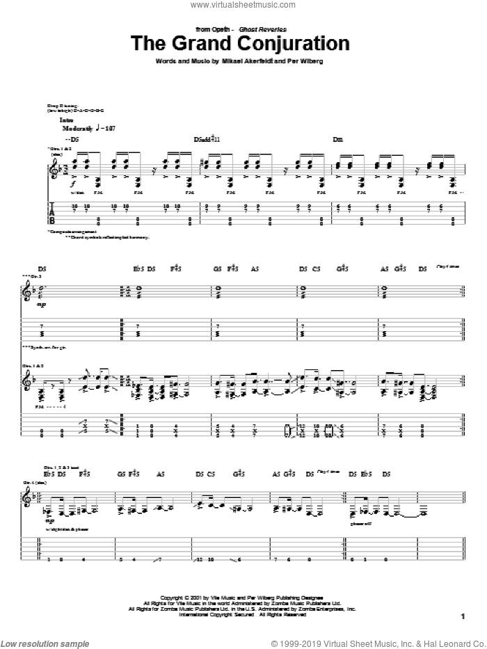 The Grand Conjuration sheet music for guitar (tablature) by Opeth, Mikael Akerfeldt and Per Wiberg, intermediate skill level