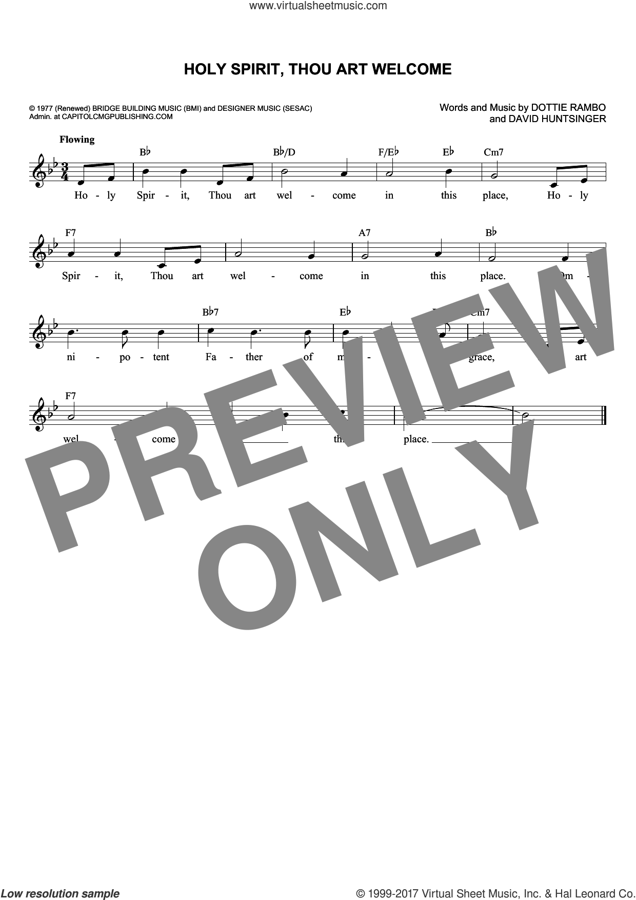 Holy Spirit, Thou Art Welcome sheet music for voice and other instruments (fake book) by David Huntsinger and Dottie Rambo, intermediate skill level