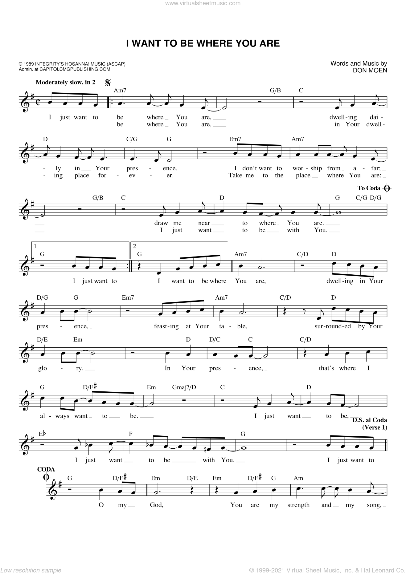 I Want To Be Where You Are sheet music for voice and other instruments (fake book) by Don Moen, intermediate skill level