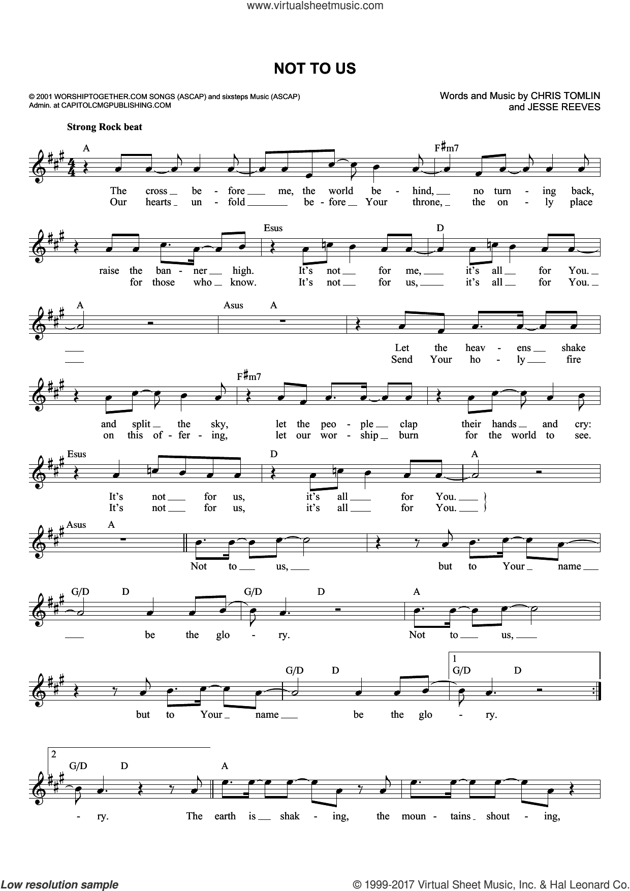 Not To Us sheet music for voice and other instruments (fake book) by Chris Tomlin and Jesse Reeves, intermediate skill level