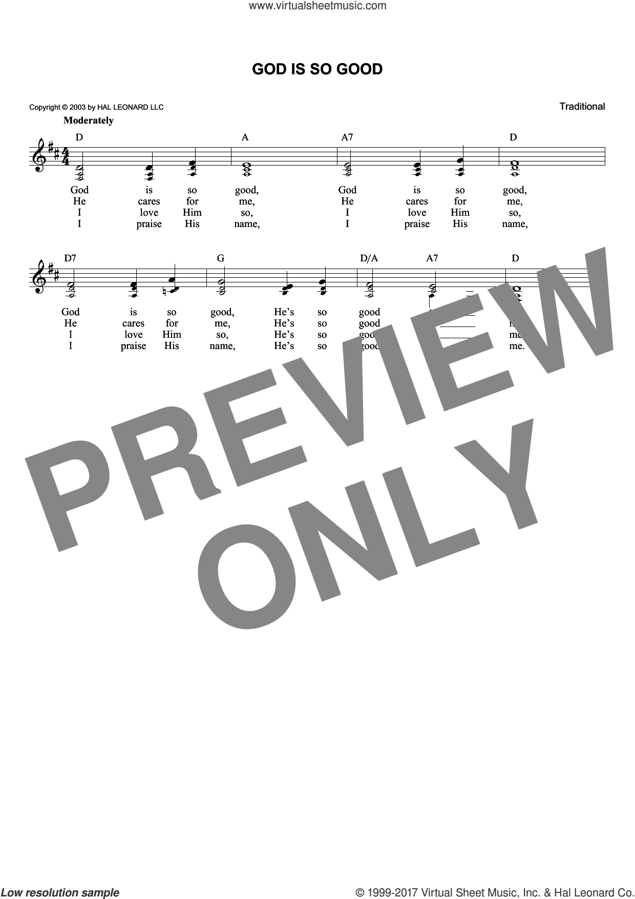 God Is So Good sheet music for voice and other instruments (fake book), intermediate skill level
