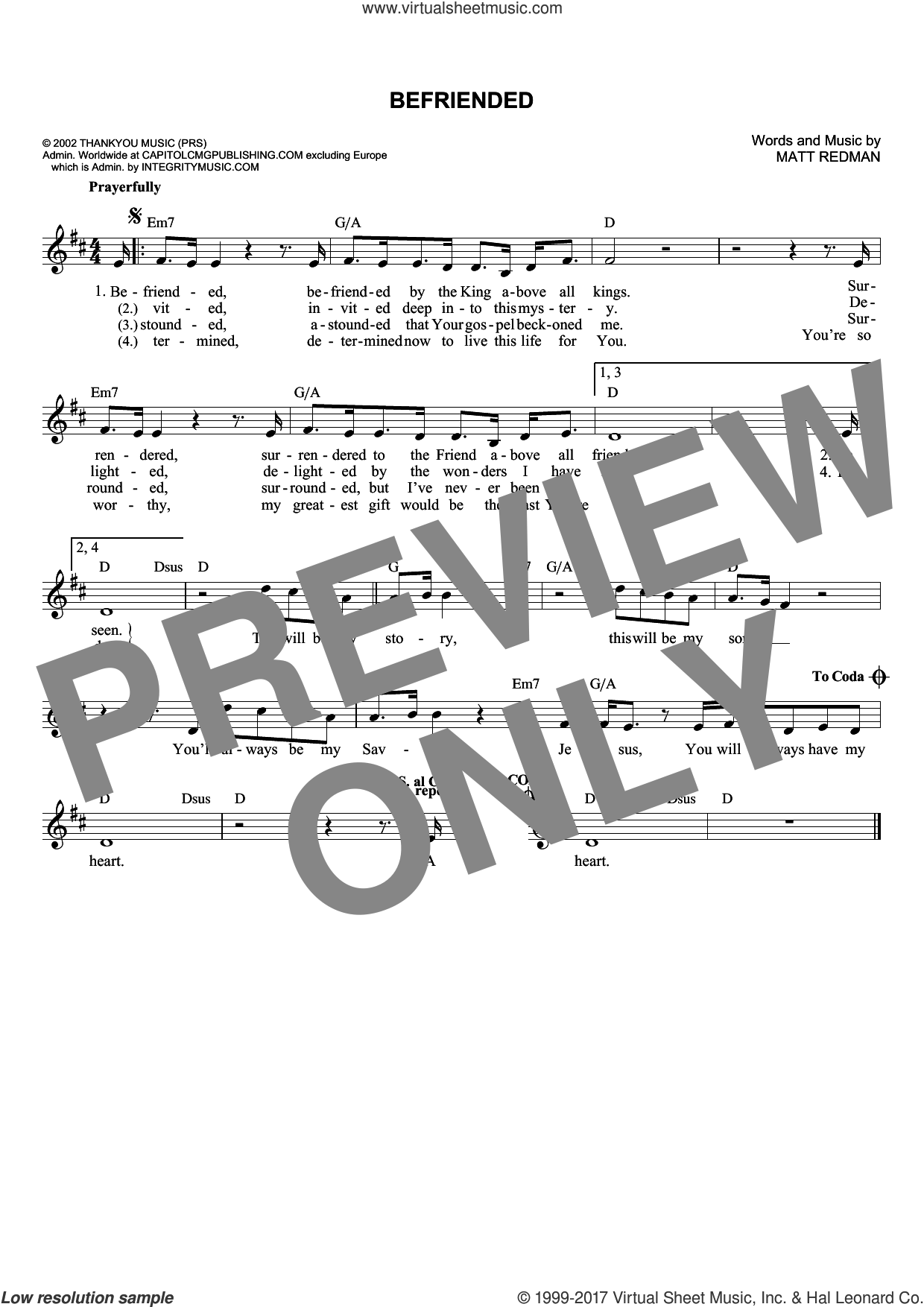 Befriended sheet music for voice and other instruments (fake book) by Matt Redman, intermediate skill level
