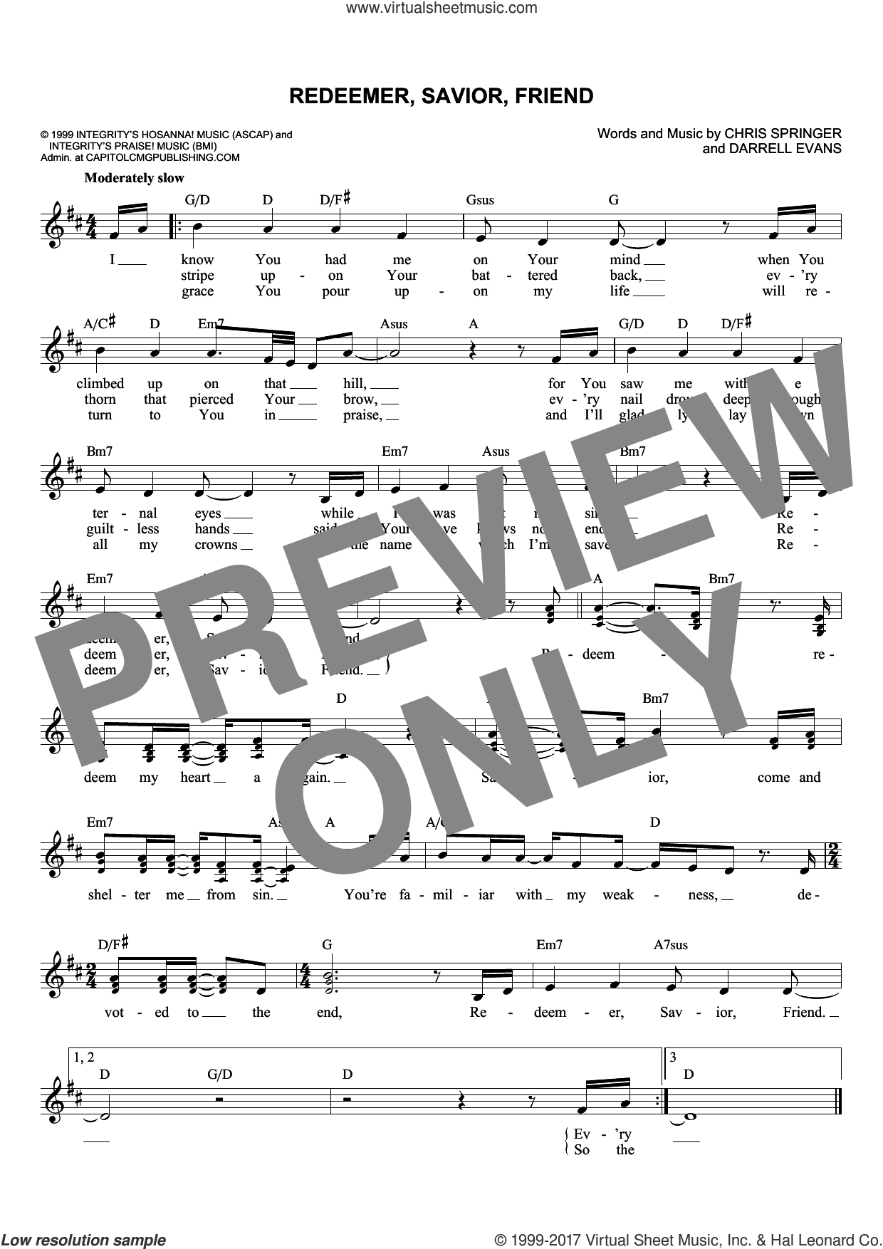 Redeemer, Savior, Friend sheet music for voice and other instruments (fake book) by Chris Springer and Darrell Evans, intermediate skill level