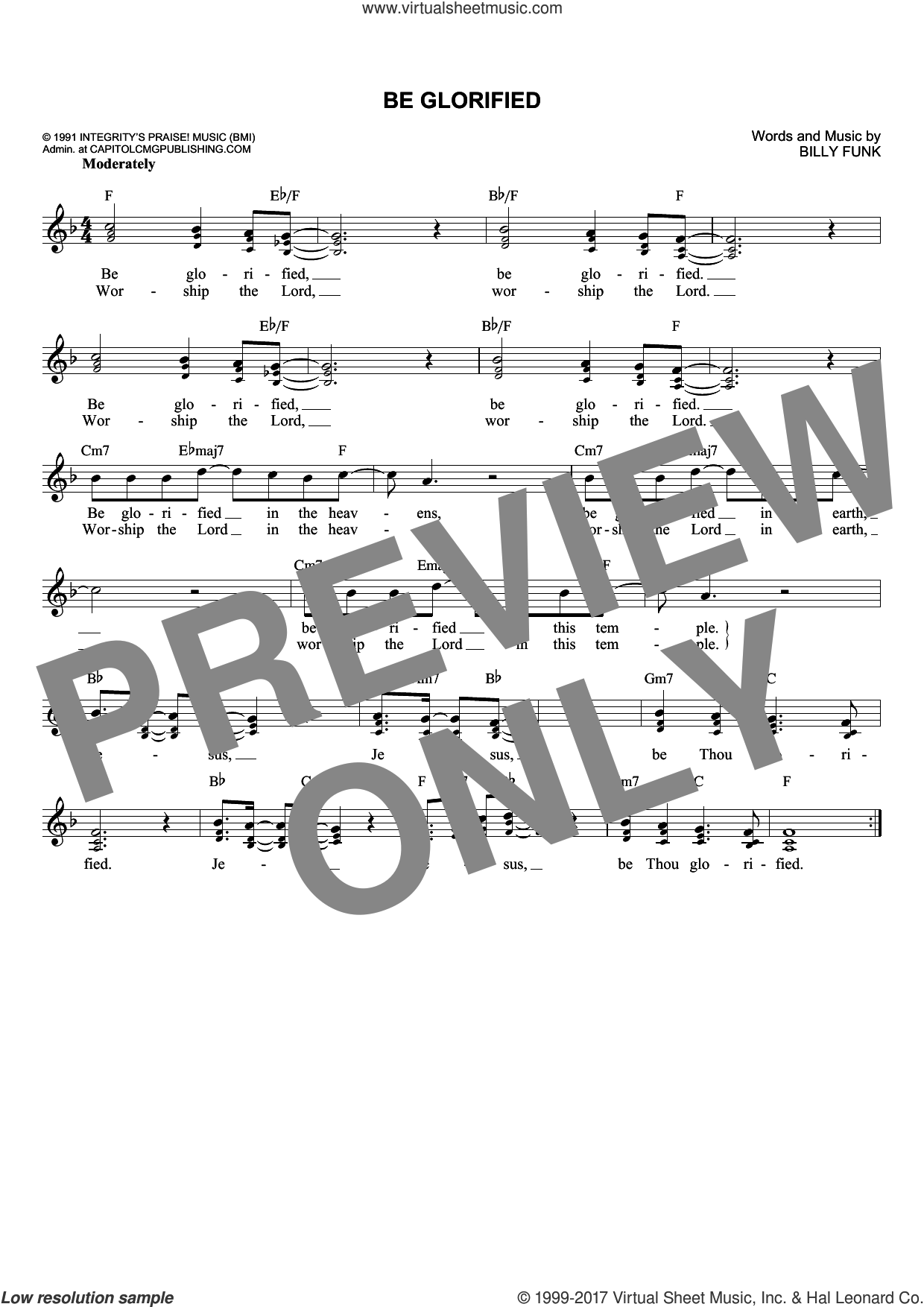 Be Glorified sheet music for voice and other instruments (fake book) by Billy Funk, intermediate voice. Score Image Preview.